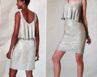 Vogue Pattern, V1288, misses close fitting/ lined dress, bodice overlay with invisible back zipper, above knee dress, sz: 12, 14, 16, 18, 20