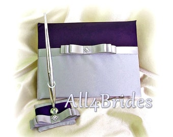 Wedding Guest Book Lapis Deep Purple and Grey,  wedding accessories guest book and pne set