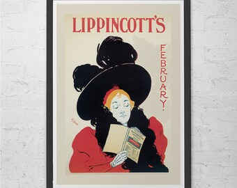 Vintage LIPPINCOTT'S Poster Art Nouveau Poster Bibliophile BOOK LOVER Poster Belle Epoque Poster 1900's Americana Ribba Size