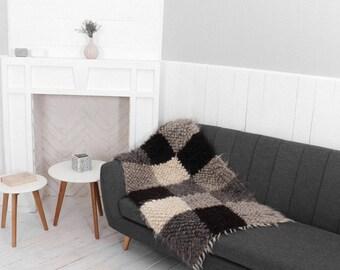 Gray throw blanket, Sofa cover, Wool throw blanket, Modern home decor, Decorative throw blanket, Heavy throws for sofa, Chair throw