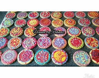N Mehndi Cake : Mehndi cookies etsy