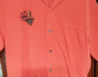 vintage Hawaiian shirt jack with air brushed adornment