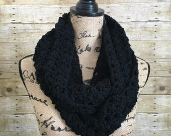 Black Infinity Scarf. Layering Scarf. Black Scarf. Winter Layering Accessories. Crocheted Infinity Scarf. Wrap Scarf. Gift for Her