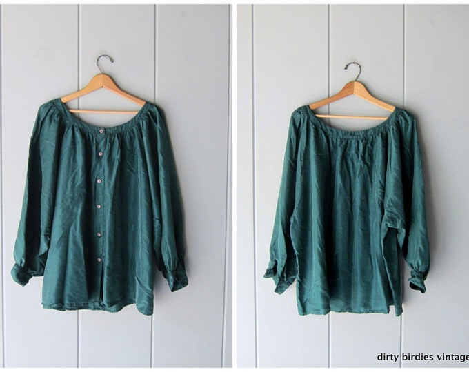 Oversized Green Silk Blouse 90s Minimal Boho Batwing Peasant Shirt Modern Airy Preppy Silk Top Billowy Blouse Vintage Womens Large XL