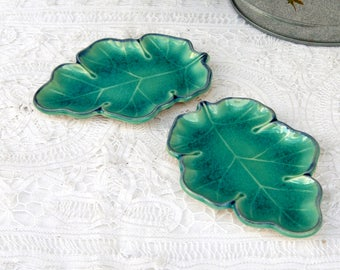 Vintage JAPAN Ceramic Leaf Dishes Teal Blue Set of 2, Trinket Dishes Condiment Butter, Thanksgiving Fall Shabby Chic Decor Country Kitchen