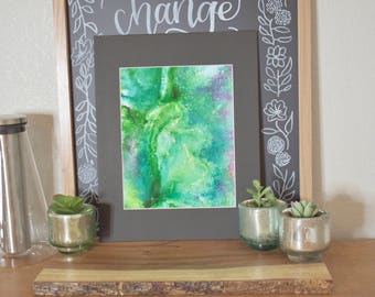 Greens with silver and pink accents - 8x10 in 11x14 matting
