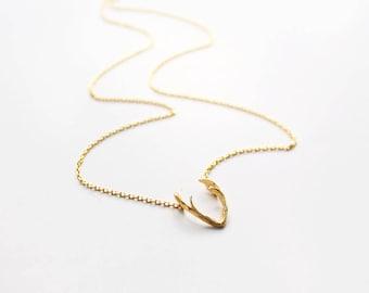 Antler Necklace, Choker Necklace, Deer Antler Charm, Reindeer, Deer Head Necklace, Layering Necklace
