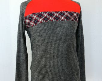 Grey man sweater and Plaid and plain red geranium cuts / by classy *.