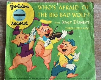 """Disney """"Who's Afraid of the Big Bad Wolf?"""" 1950 Golden Record"""