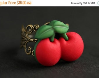 MOTHERS DAY SALE Cherry Ring. Button Ring. Red Cherries Ring. Adjustable Ring. Cherry Jewelry. Bronze Ring. Cherries Jewelry. Handmade Jewel