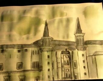 sketch of medieval façade
