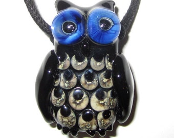 Lampworked Glass Baby Owl Necklace