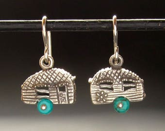 Camper earrings, Sterling camp trailer w/gemstone wheels, glamper, happy camper, solid recycled sterling silver, made in USA