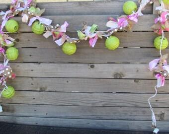 8' Spring Garland- Spring Lighted Garland- Easter Garland- Easter Lighted Garland- Green/Pink Lighted Garland- Lantern Garland- Garland