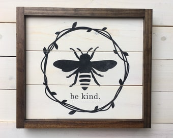 Bee Shiplap Distressed Sign Gift | Be Kind Painted Wood Sign | Wood Sign | Farmhouse Wall Decor | Bee Decor