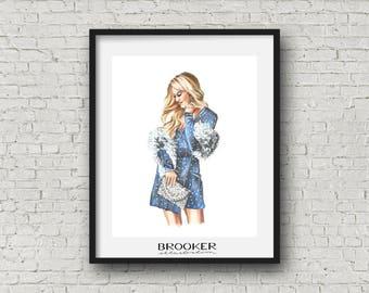 Sparkles & Fur • Fashion Illustration Print • 8x10 Inch
