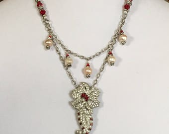 Vintage Rhinestone Dress Clip and Fresh Water Pearl Necklace