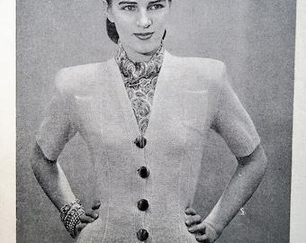 Original vintage 40s Vogue-Knit Book No 81 Vogue knitting patterns booklet 1940s women's knitwear sweaters cardigans dress men's patterns