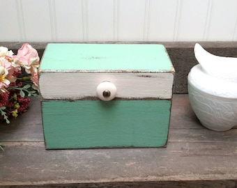 Mint and White Cottage Chic Recipe box hand painted Farmhouse Kitchen Decor  Shabby Chic Fixer Upper Style