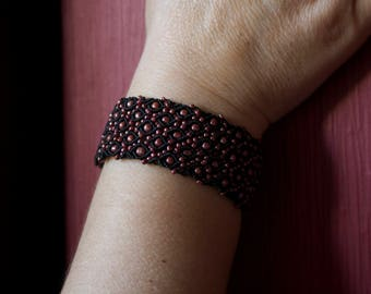 Black Macrame Bracelet, Red Beads, Detailed, Handmade Jewelry, Women, Adjustable, Wide Bracelet, Lace Bracelet