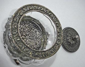 Glass Silver Metal Jewelry Trinket Box Vintage