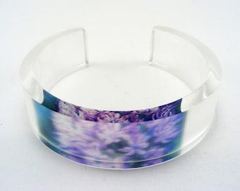 Lilac Flower Bangle, Handmade Perspex Jewellery with Blossom Medium Size