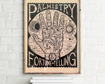 Palm Reading Artwork - Palmistry Chart Woodcut, Fortune Telling Wall Art, Palmistry Print, Occult Art, Goth Art - Home Decor - Hand Art