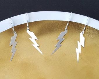 Lightning Earrings, Sterling Silver, Lightning Bolt, Handmade Jewelry, Birthday Gift, Gift for Her, Bridesmaid Gift