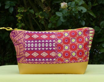 make-up pouch large faux yellow and colorful ethnic cotton, zipper