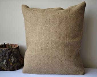 Natural burlap pillow cover, blank burlap accent pillow, rustic cushion, no sayings eco burlap, boho pillow, organic textile. Any size!