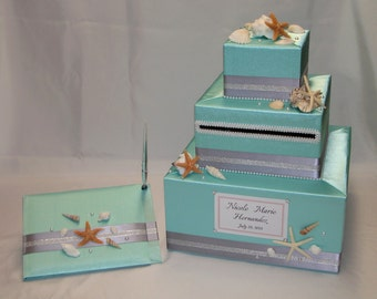 BEACH theme Wedding Card Box and Matching Guest Book and Pen -Sea Shells-Starfish accents-ANY COLOR
