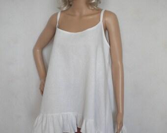 plus size linen cami top boho linen tank top lagenlook linen camisole top loose white cami top made to order