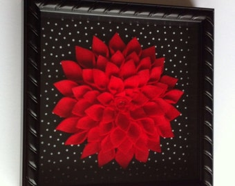 Framed Red Felt Dahlia Wall Decor - 8x8 black shadow box with black and white polka dot background