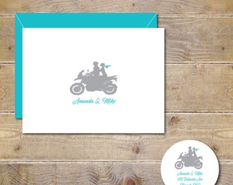 Wedding Thank You Cards, Motorcycle Wedding Thank You Cards, Motorcycles, Bridal Shower Thank You Cards, Bridal Shower, Affordable Weddings