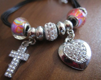 Cross and Heart Charm Bracelet