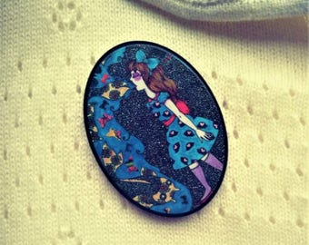 Acrylic Brooch: Laser Cut Fairy Tale Art Lapel Pin/ Cameo Brooch/ Last minute Christmas gifts
