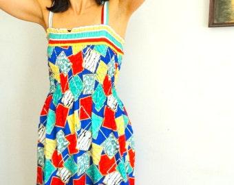 70s sundress summer cotton midi dress shirred ruched top bright geometric print size M Medium 1970s