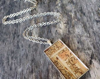 Recycled wine cork mosaic necklace