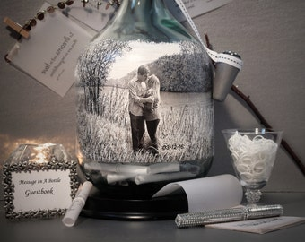 Unique Guestbook Alternative, Messages In A Bottle Guestbook, Hand Painted Bottle With Your Photo, Chalkboard Paint Back, Reception Decor