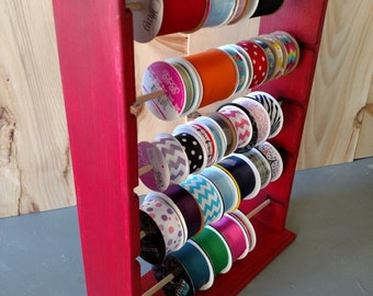 Ribbon rack organizer holds 125 spools 4 and 5 inch painted Colonial Red Limited