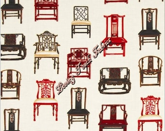 "Robert Kaufman ""Asian Traditions"" #14825-200 Vintage Chairs Furniture Cotton Fabric 1/2 Yd 18"" x 44"""