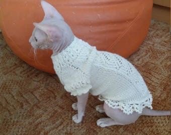 Clothes for Sphinx. Cat clothes. Wedding dress for cat. Sphynx. Clothes for cat. Handmade knitted.Party clothes.Birthday clothes for cat