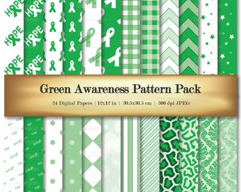 Digital Scrapbook Paper Green Awareness Ribbon Digital Scrapbooking Paper Variety 24 Pack Hope Strength Love Patterns - Commercial Use OK