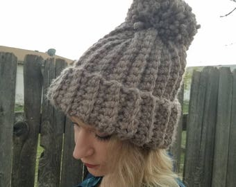 Thick warm winter beanie with pom pom/ women's beanie/ winter hat/ taupe/ dark oatmeal/ gift/ jumbo pom pom/ ready to ship/ handmade/ toque