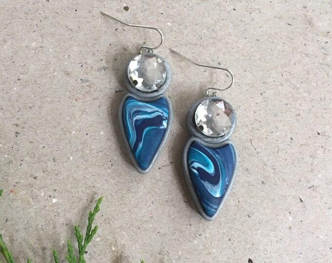 SPEARHEAD DROP EARRINGS// Blue marble spearhead bling drop earrings//  Handmade polymer clay tribal statement dangle earrings//  #DE2026A