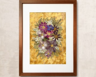 Framed Dried Flowers Pressed Flowers Home Decor Pressed Flower Frame Wall Decor Herbarium Dried Flower Pressed Flower Art Original Herbarium