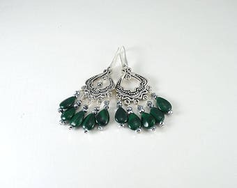 Silver chandelier genuine malachite gemstone dangle earrings