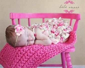 Newborn Photography Prop Chunky baby blanket photo prop blanket bucket basket bowl Pink basket filler