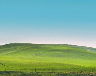 "landscape photography, minimalist landscape prints, large art, large wall art, rolling hills, sky, dreamy, large landscape - ""Velvet Hills"""