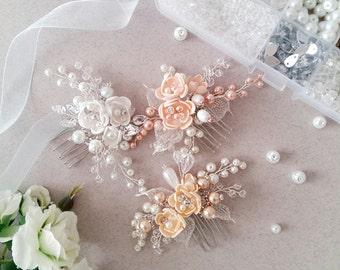 Peach Pearl Bridal hair comb, Wedding hair comb, Bridal headpiece, Wedding headpiece, Bridal hair piece